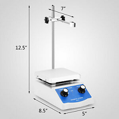 Magnetic Stirrer Mixer w/12x12cm Hotplate Stirring Bar&Support Stand 220V 2000ml